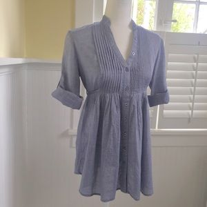 XXI Chambray Pleated Denim Tunic-Length Blouse S